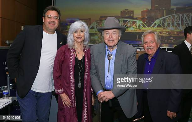 Honorees Vince Gill EmmyLou Harris Roy Clark and John Conlee as seen backstage during the 33rd Annual American Eagle Awards at Music City Center on...