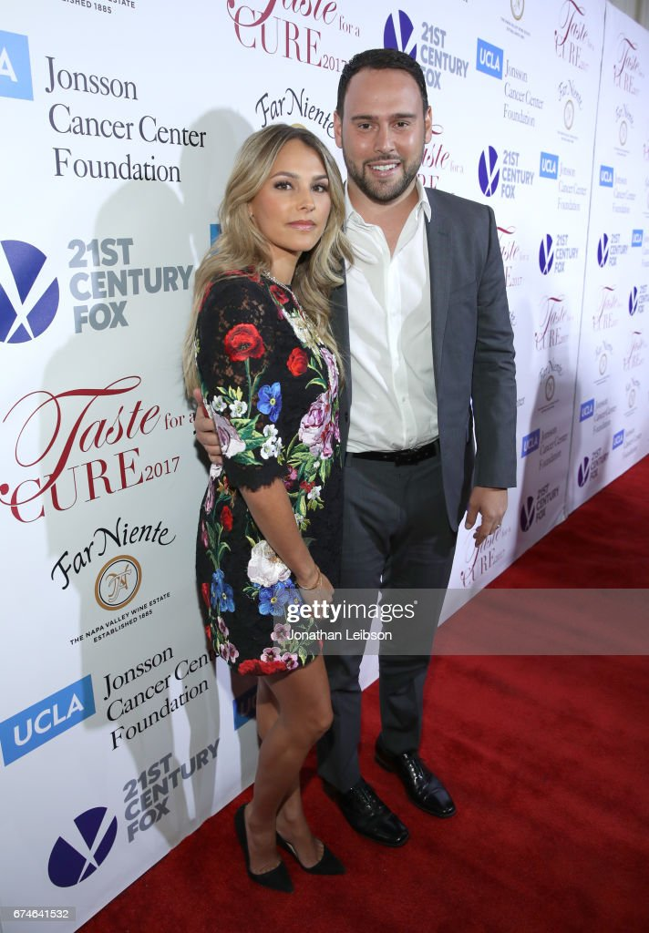 Honorees Yael Braun (L) and Scoot Braun attend the UCLA Jonsson Cancer Center Foundation Hosts 22nd Annual 'Taste for a Cure' event honoring Yael and Scooter Braun at the Regent Beverly Wilshire Hotel on April 28, 2017 in Beverly Hills, California.