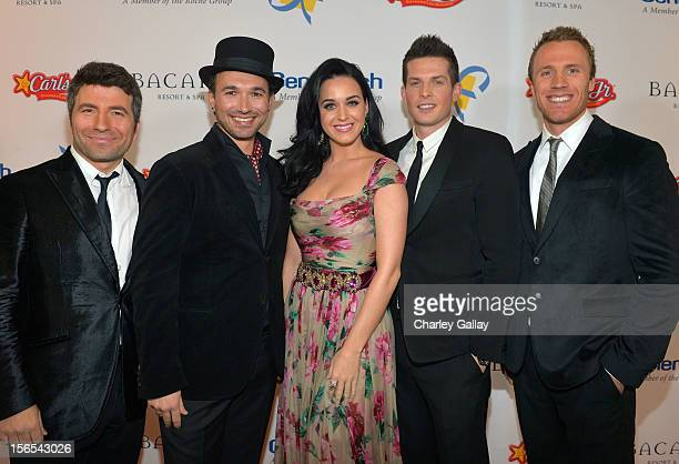 Honoree/singer Katy Perry singers Remigio Pereira Clifton Murray Victor Micallef and Fraser Walters of The Tenors attend the Dream Foundation...