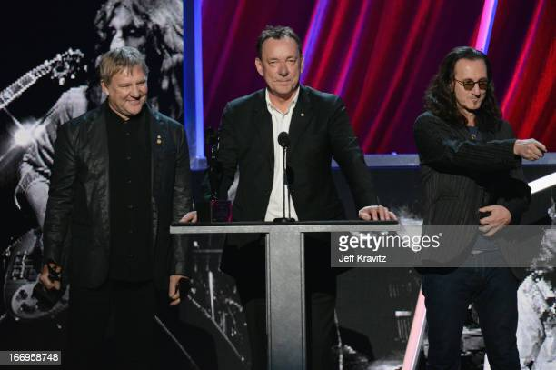Honoress Alex Lifeson Neil Peart and Geddy Lee onstage at the 28th Annual Rock and Roll Hall of Fame Induction Ceremony at Nokia Theatre LA Live on...