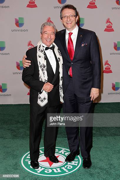 Honoress Cesar Costa and President/CEO of The Latin Recording Academy Gabriel Abaroa Jr attend the 15th annual Latin GRAMMY Awards at the MGM Grand...