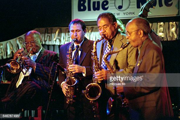 Honoring Clark Terry at the Blue Note on Monday night December 9 2002This imageFrom left Clark Terry David Glasser Frank Wess and Jimmy Heath