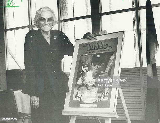 Honoring The Babe: Dorothy Ruth Pirone; 65; at the unveiling of lithograph honoring the home run her father Babe Ruth hit at Hanlan's Point in 1914....