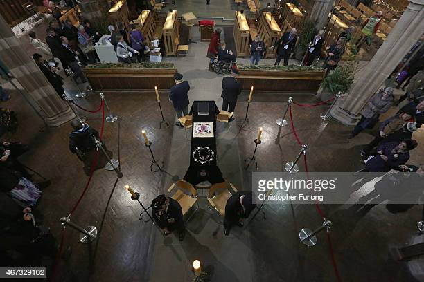 Honour guards by members of the British Legion stand by the coffin of King Richard III as the public view it in repose inside Leicester Cathedral on...