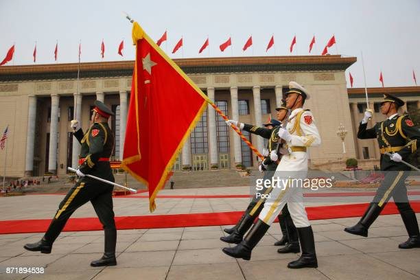 Honour guards march during US President Donald Trump's welcoming ceremony at the Great Hall of the People on November 9 2017 in Beijing China Trump...