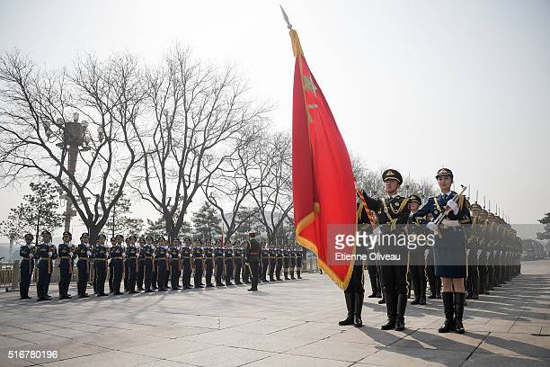 Honour guards paradee in front of the Great Hall of the People on March 21 2016 in Beijing China At the invitation of Premier Li Keqiang of the State...