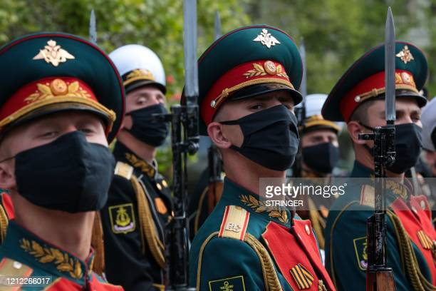 Honour guards take part in a ceremony to mark the 75th anniversary of the victory over Nazi Germany in World War Two, in Sevastopol, Crimea, on May 9...