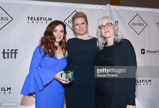 Honouree Caroline Dhavernas VP Marketing and Communications Birks Eva Hartling and Executive Director Telefilm Carolle Brabant attend Birks Diamond...