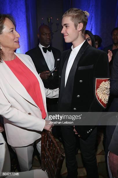Honree Segolene Royal and musician Justin Bieber attends the 5th Annual Sean Penn Friends HELP HAITI HOME Gala Benefiting J/P Haitian Relief...