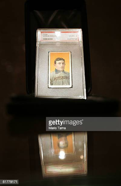 Honus Wagner baseball card valued at $375000 $500000 is seen at a Sotheby's preview of a baseball memorabilia sale titled The Babe Comes Home...