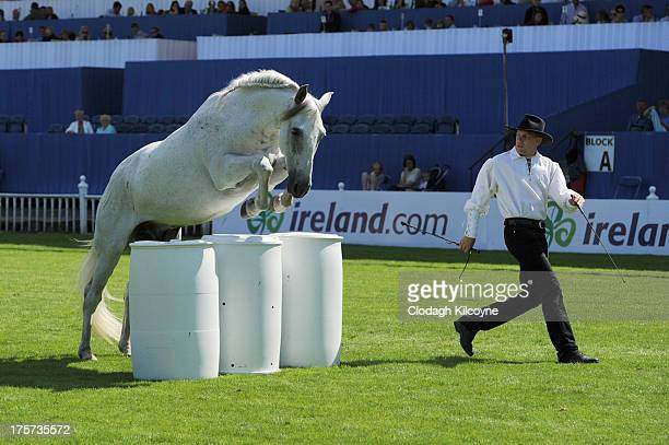 Honza Blaha who controls horses without bridles or a saddle performs during the RDS Dublin Horse Show at Royal Dublin Society on August 7 2013 in...