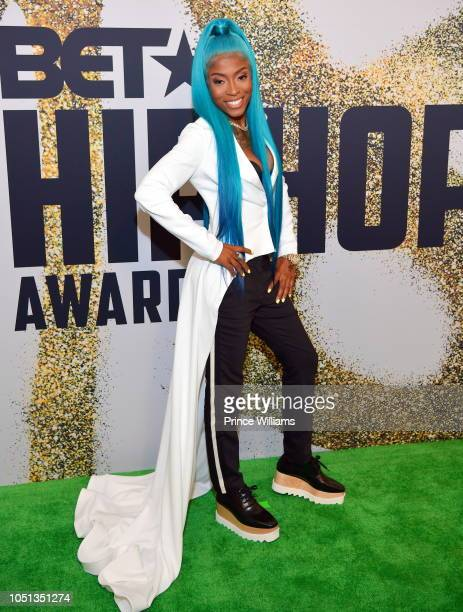 Hood Celebrityy arrives at the BET Hip Hop Awards 2018 at Fillmore Miami Beach on October 6 2018 in Miami Beach Florida