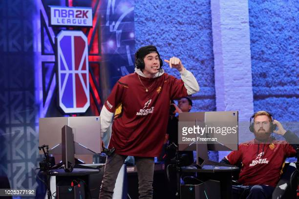Hood of Cavs Legion Gaming Club gets hyped during the game against Knicks Gaming during the Semifinals of the NBA 2K League Playoffs on August 18...