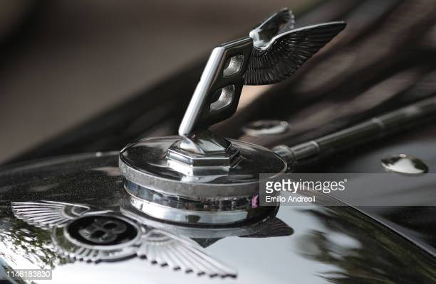 Hood ornament of a Bentley 4.25 Litre on display at the Concorso d'Eleganza Villa d'Este on May 25, 2019 in Como, Italy. Approximately 50 historic...