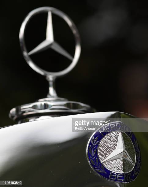 Hood ornament of a Mercedes Benz 540 K Cabriolet A on display at the Concorso d'Eleganza Villa d'Este on May 25, 2019 in Como, Italy. Approximately...