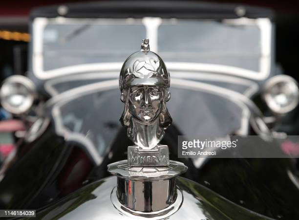 Hood ornament of a Minerva Type AF on display at the Concorso d'Eleganza Villa d'Este on May 25, 2019 in Como, Italy. Approximately 50 historic cars...