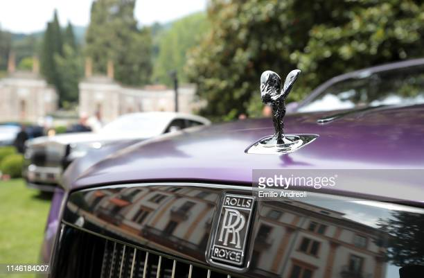 Hood ornament of a Rolls-Royce Dawn Black Badge on display at the Concorso d'Eleganza Villa d'Este on May 25, 2019 in Como, Italy. Approximately 50...