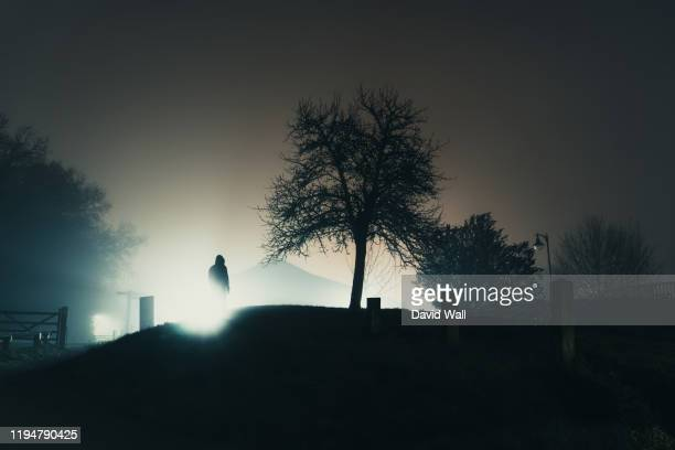 a hooded figure silhouetted against street lights next to a tree. on a mysterious misty, winters night - town stock pictures, royalty-free photos & images