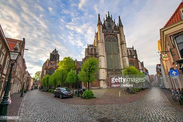 Hooglandse Kerk as seen from the corner of Nieuwstraat and Middelweg in Leiden, The Netherlands.