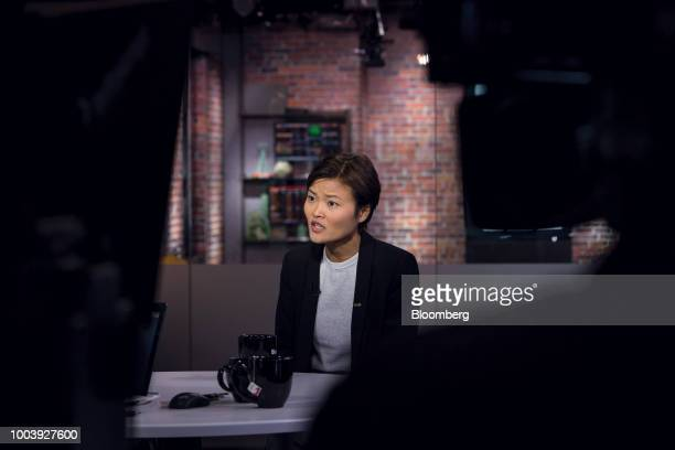 Hooi Ling Tan cofounder and chief operating officer of GrabTaxi Holdings Pte Ltd speaks during a Bloomberg Television interview in San Francisco...