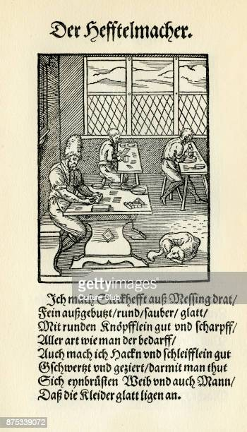 Hook and clasp / eyelet maker from the Book of Trades / Das Standebuch Collection of woodcuts by Jost Amman 1568 with accompanying rhyme by Hans Sachs