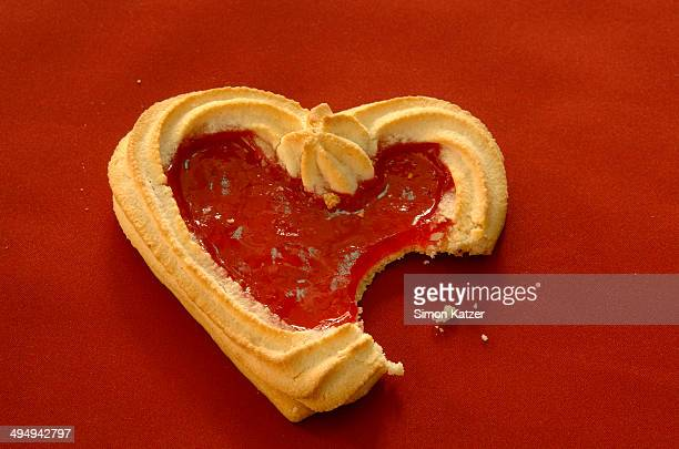 Hooked short bread in form of a heart