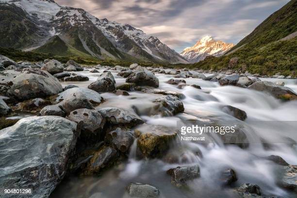 Hooker river with long exposure Aoraki Mt Cook National Park, New Zealand