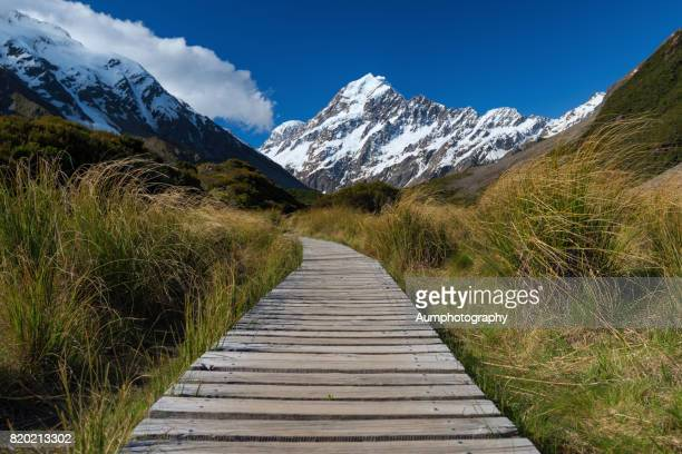 hooker valley track at mt. cook national park, new zealand. - track imprint stock photos and pictures