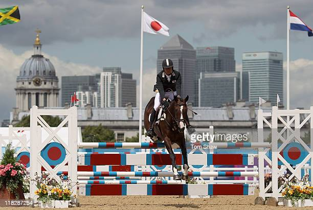 Hooligan ridden by Takayuki Yumira of Japan in action during the show jumping stage of the Equestrian Eventing at the LOCOG Test Event for London...