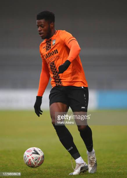 Hooper of Barnet during the Emirates FA Cup Second Round match between Barnet FC and Milton Keynes Dons at The Hive London on November 29, 2020 in...