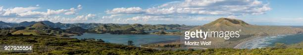 Hoopers Inlet, green hilly landscape between ocean and pacific ocean, Dunedin, Otago Peninsula, South Island, New Zealand