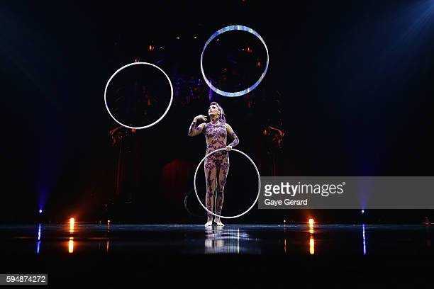 Hoops Manipulation performed by Irina Akimova during the Cirque du Soleil KOOZA Sydney Dress Rehearsal at The Entertainment Quarter on August 24 2016...