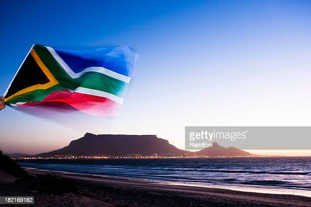 hooray for cape town! - south african flag stock photos and pictures