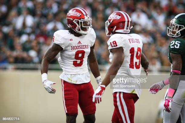 Hoosiers safety Jonathan Crawford and defensive back Tony Fields celebrate an important defensive stop during a Big Ten Conference NCAA football game...
