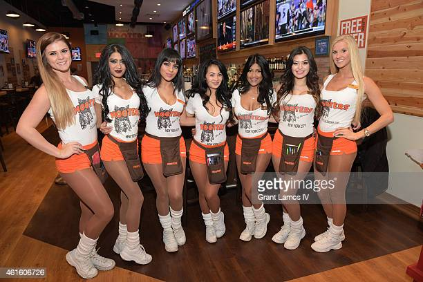 Hooters girls attend Hooters Manhattan VIP Press Party at Hooters Manhattan on January 15, 2015 in New York City.