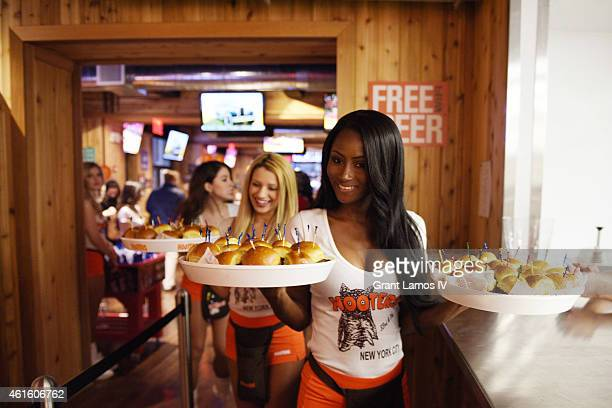 Hooters girls attend Hooters Manhattan VIP Press Party at Hooters Manhattan on January 15 2015 in New York City