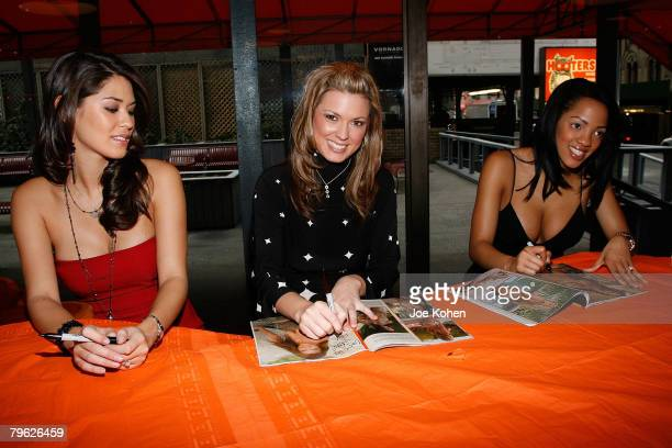 Hooters girls Kat Longa Beverly Mullins and Nesie signes copies of Playboy Magazine at Playboy Magazine's February 2008 Issue The Women of Hooters...