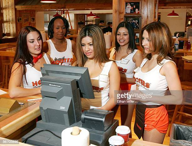 Hooters Girls train at the Hooters Restaurant inside the world's first Hooters Casino Hotel January 30, 2006 in Las Vegas, Nevada. The property, on...