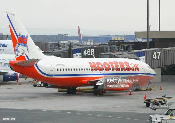 Hooters plane arrives at Gate 47 for the inauguration of the airline's new service between Newark and Myrtle Beach South Carolina at Newark Liberty...
