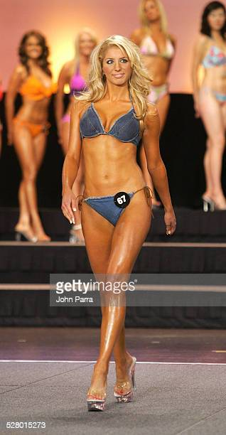 Hooters Swimsuit Contestants during 9th Annual Hooters International Swimsuit Pageant at Jackie Gleason Theatre in Miami United States