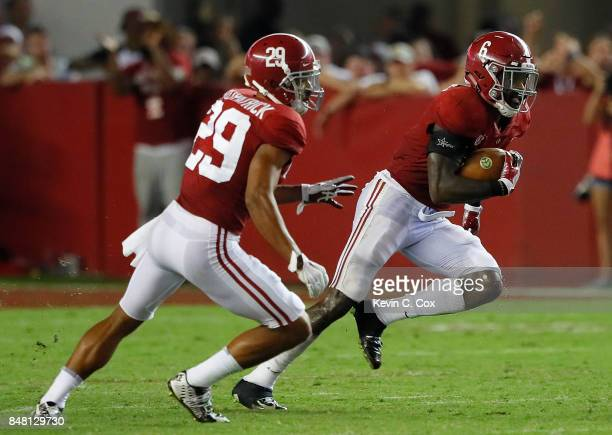 Hootie Jones of the Alabama Crimson Tide returns an interception against the Colorado State Rams at BryantDenny Stadium on September 16 2017 in...