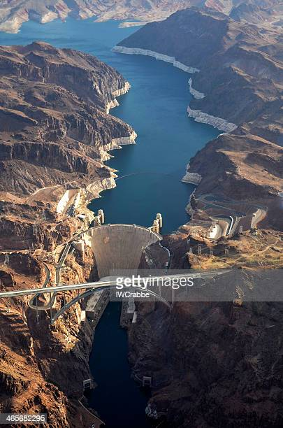hoover dam aerial - hoover dam stock photos and pictures