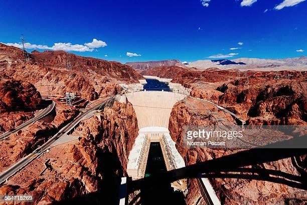 Hoover dam against blue sky