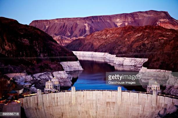 Hoover Dam and Lake Mead at Sunset, Nevada, USA