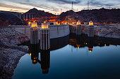 Hoover Dam at Sunset Nevada Arizona