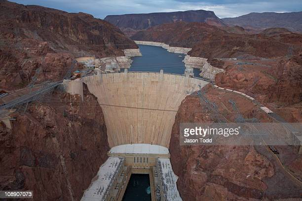 hoover dam from the hoover dam bypass bridge - jason todd stock photos and pictures
