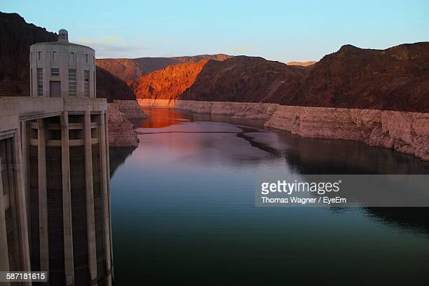 Hoover Dam Over Colorado River During Dusk