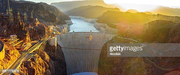 hoover dam panorama - hoover dam stock photos and pictures