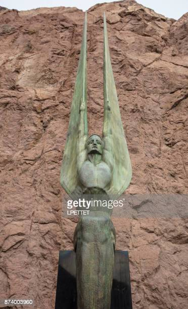 hoover dam statue - boulder city stock photos and pictures