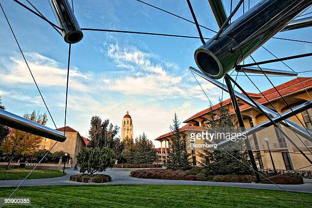 Hoover Tower is seen through a sculpture by Kenneth Snelson on the campus of Stanford University in Palo Alto California US on Tuesday Dec 1 2009...